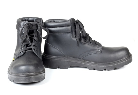 steel toe boots: Color photograph of leather working boots