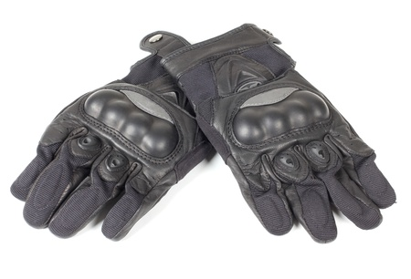 Color photograph of leather motorcycle gloves Standard-Bild