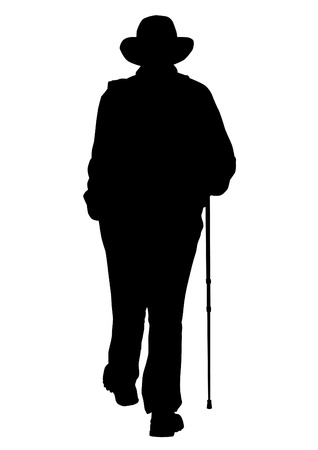 lasting: Vector drawing of an elderly man walking