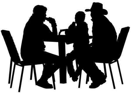 La gente de dibujo vectorial en los cafés. Siluetas de personas en la vida urbana