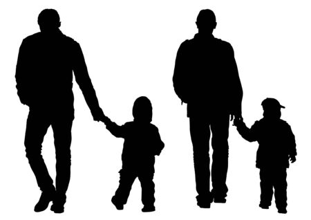 niños caminando: Los padres de dibujo vectorial y Childs Vectores