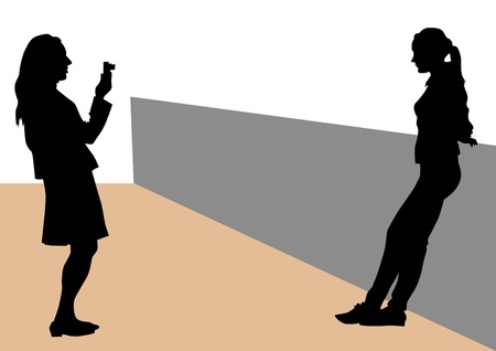 Vector image of people with cameras and model Stock Vector - 14475461