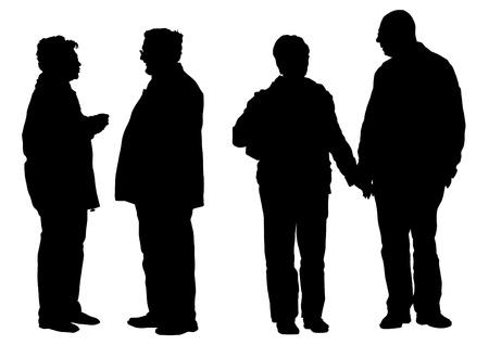 pensionado: Dibujo vectorial de una pareja de ancianos caminando