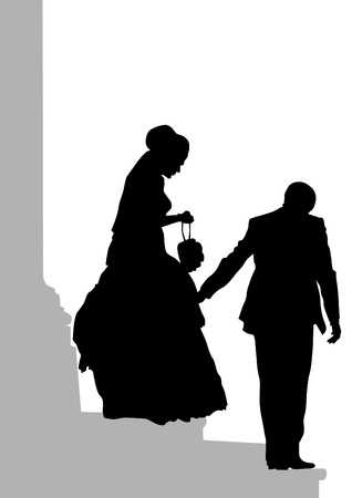father of the bride: image of bride and groom on stairs Illustration