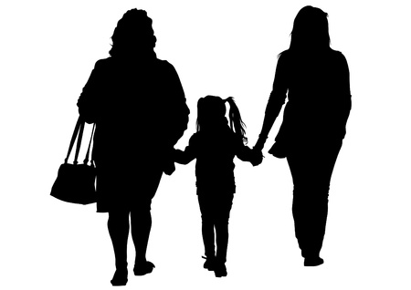 image of two women and a child Vector