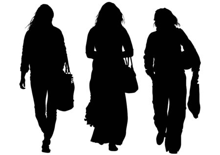image of young women with shopping bags Vector