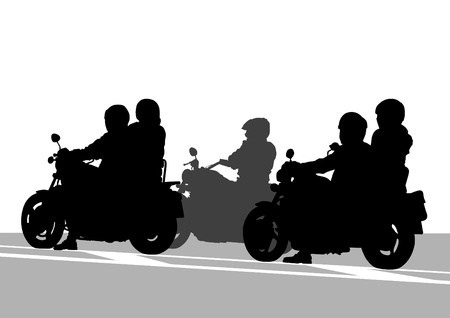 motorcyclist: Vector drawing a big road motorcycle