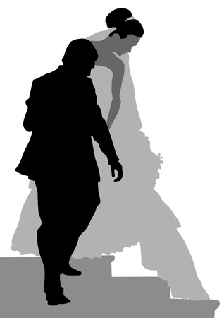 Vector image of bride and groom on stairs Vector