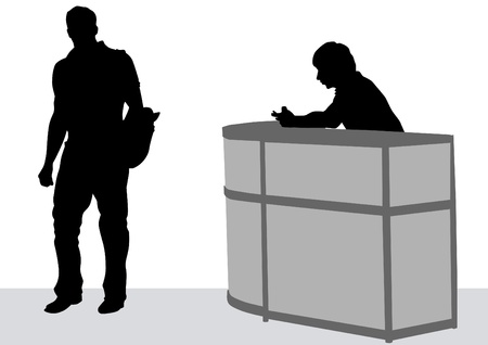 recruit suit: Vector drawing visitors and employees at reception Illustration