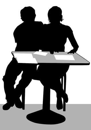 Vector drawing of a couple at a table in the office Vector