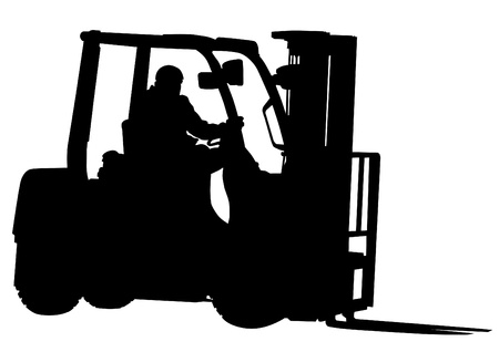 warehouse equipment: Vector drawing of forklift and working Illustration