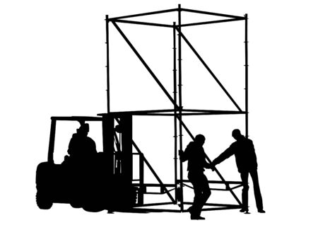 stockpile: Vector drawing of forklift and working Illustration