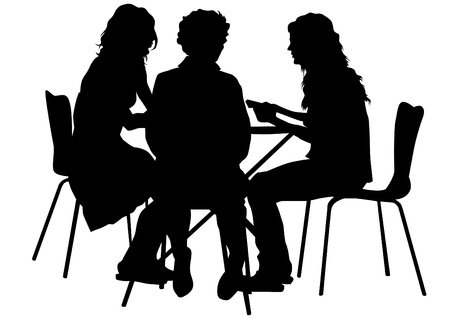 sitting at table: Vector drawing people in cafes. Silhouettes of people in urban life Illustration
