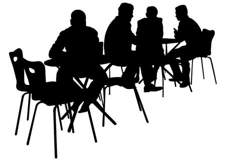 gente sentada: Gente de dibujo vectorial en los caf�s. Siluetas de la gente en la vida urbana Vectores