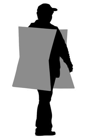 Vector drawing of a man with a cardboard banner Vector