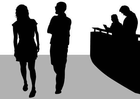 Visitantes de dibujo vectorial y empleados en la recepción