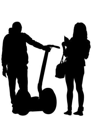 segway: Vector drawing of a young girl and boy on electric scooter Illustration