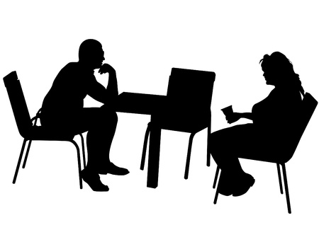 Vector drawing of a couple at a table in the office Stock Vector - 14985323