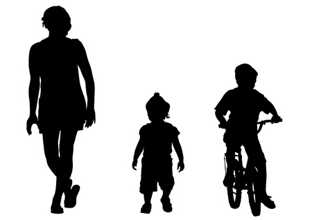 set going: Vector drawing families and child on bike
