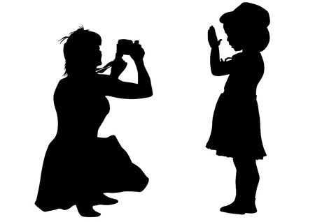 Vector drawing silhouette of a little girl and mom Stock Vector - 14985324