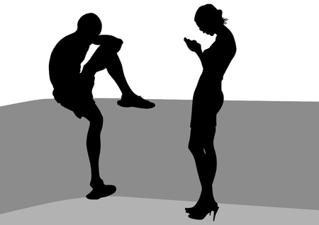 affectionate actions: Vector drawing of a man and a woman