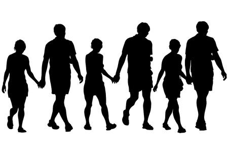 parejas caminando: Dibujo vectorial de un hombre y una mujer Vectores