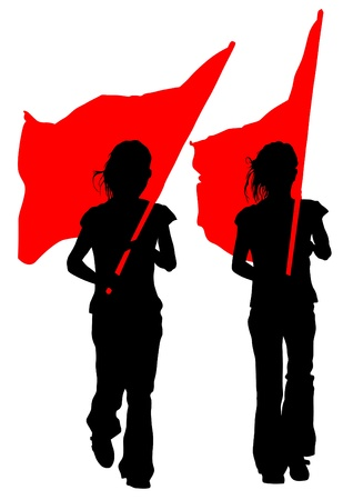 Vector drawing young women and flags Vector