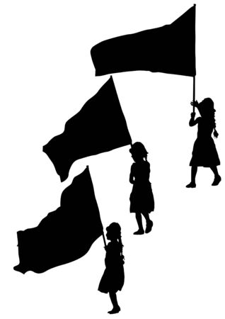 objection: drawing young girl and flags Illustration