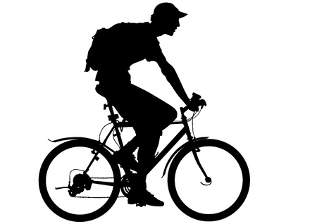 people traveling: Vector drawing silhouette of a cyclist boy