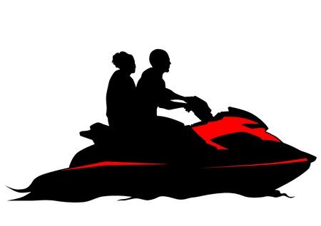 moto acuatica: parejas de dibujo en jetski Vectores