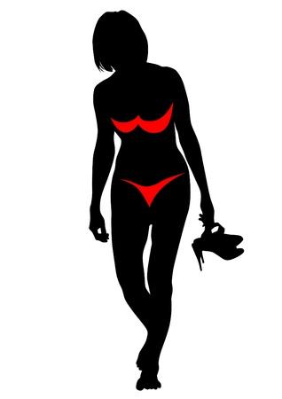 drawing slim and beautiful girls in bikini Vector