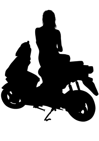 Vector drawing riders on scooter Vector