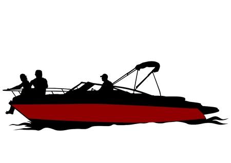 jet ski: Parejas de dibujo vectorial en el barco