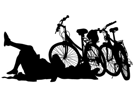 Vector drawing silhouette of a cyclist boy Vector