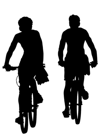 people travelling: Vector drawing silhouette of a cyclist boy