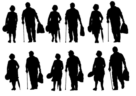 retiree: Vector drawing of an elderly couple walking