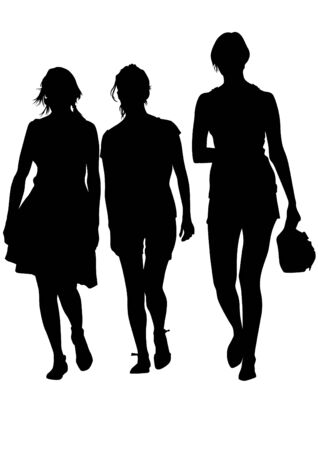 Vector image of young women with shopping bags Vector