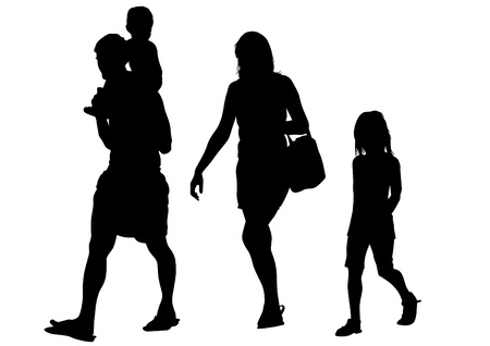 child walking: Vector drawing parents and child
