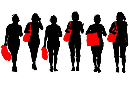 Vector image of women with shopping bags Stock Vector - 15488633