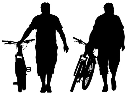 cycling helmet: Vector drawing silhouette of a cyclist man Illustration