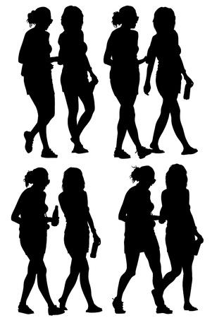 prostitue: Vector tekening slanke en mooie meisjes Stock Illustratie
