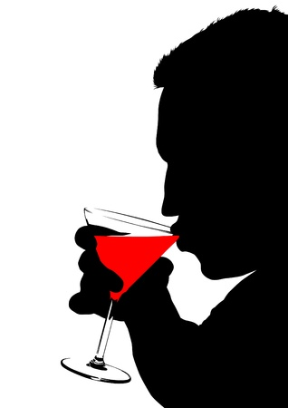alcoholic beverage: Vector drawing of a man with a glasses of martini