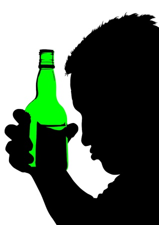 alcoholic drink: Vector drawing of a man with a bottle of whiskey