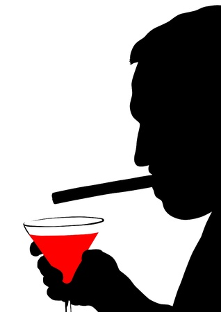 Vector drawing of a man whit cigar Stock Vector - 15304225