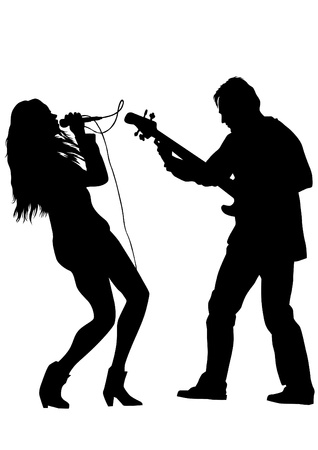 drawing one man singing with a microphone and guitarist