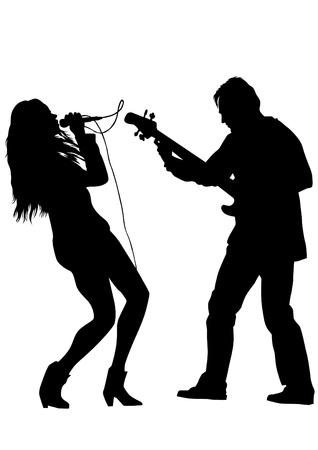 tekenen een man zingen met een microfoon en gitarist Stock Illustratie