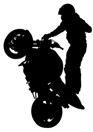 motorcyclist: drawing a sports extreme motorcycle