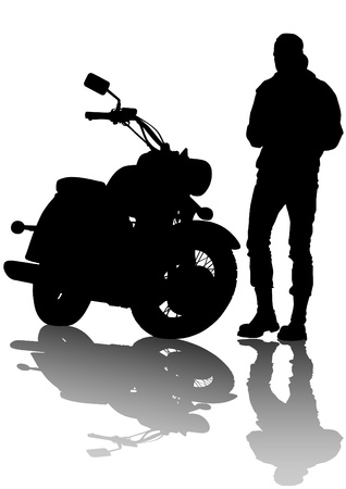 motorcyclist: drawing a old tourist motorcycle Illustration