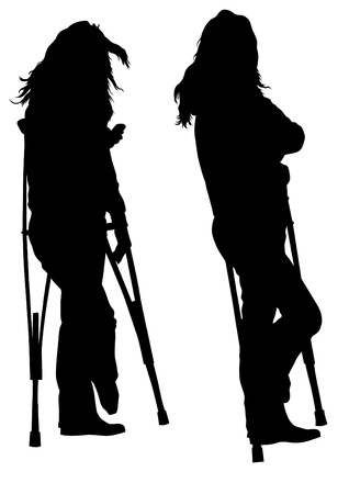 axillary:  drawing silhouette of a young woman on crutches
