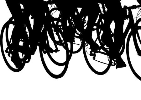 tekenen silhouet van een fietser jongen Stock Illustratie